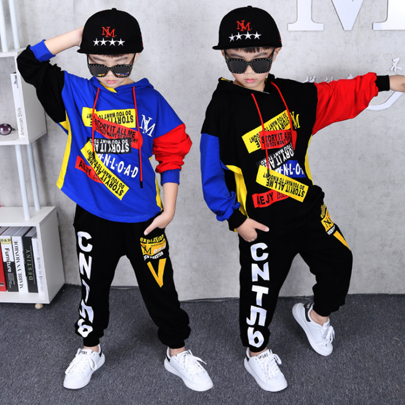 Autumn Boy's Clothing suit 2 pieces suit hooded + Pants Sets big Boys Sportwear Sets Tracksuit Outwear hoodie 6 8 10 12 14 Years