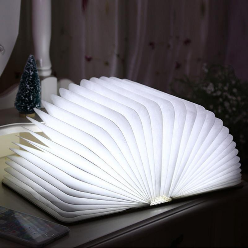 Led Light Folding Book Lamp Nightlight Creative Usb Charging Wooden Creative Origami Flip Nightlight  Table Lamp creative flip book page led nightlight