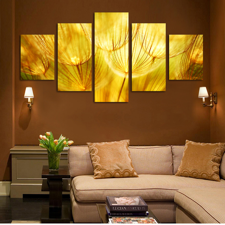 5 Panel Wall Art Gold flower Painting On Canvas Quartz crystal ...