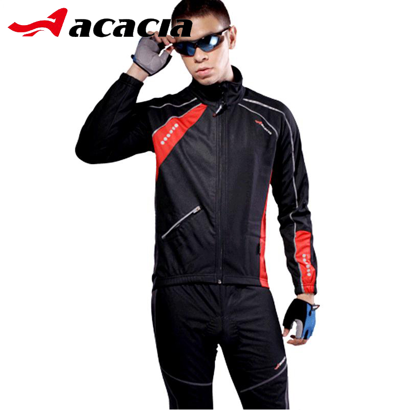ACACIA Warmly Fleece Cycling Jersey Suit Sets Windproof MTB Bike Bicycle Long sleeve Jersey+Pants Men Sportswear Suit 02942 велосипедная корзина acacia mtb 5 5 bl bag acacia