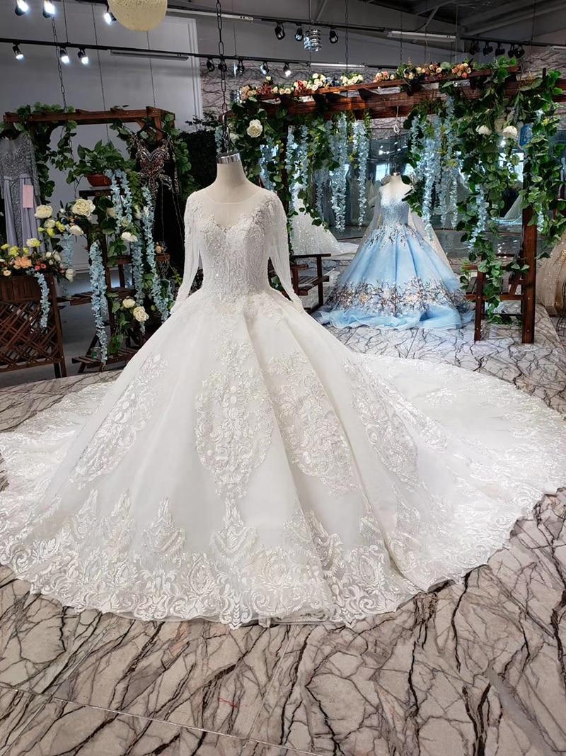 LS53710-1 luxury wedding dresses long sleeve o neck open back ball gown bridal dress up gowns 2019 promotion vestido de noiva (8)