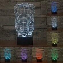 Diente forma 3D USB noche de luz Led de 7 colores que cambian la lámpara de estado de ánimo de navidad botón táctil niños sala de estar/dormitorio mesa iluminación IY803344
