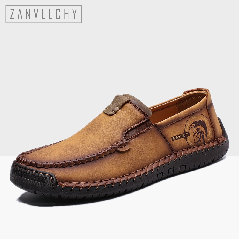 2019 Fashion Men Shoes Leather Casual Shoes Handmade Slip On Flat Shoes Comfortable Moccasins Mens Loafers Plus Size 38-48(China)