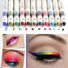 12 Del Brillo Del Color Lip Liner Sombra de Ojos Pencil Pen Cosméticos Maquillaje Delineador de Combinación Para Las Mujeres