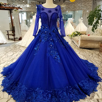 LS3111 blue lace 3d flowers evening dress long sleeve o neck see through back a line dress for mothers of brides quick shipping