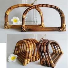 5 pares = 10 peças, maçaneta de rattan natural para bolsas de malha vintage, bolsas de crochê simples de carvão, bolsas em rattan com alça