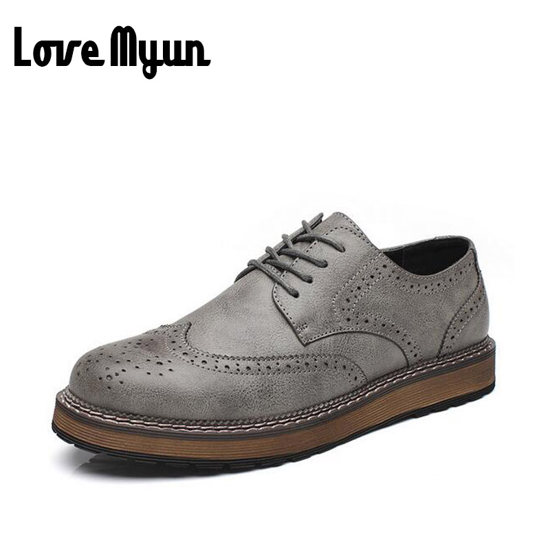 brand new spring men fashion lace up leather retro brogue shoes casual flat Breathable Carved shoes Bullock oxfords shoes WB-55 2016 spring summer new old leather lace round japanese casual shoes retro fashion leather shoes
