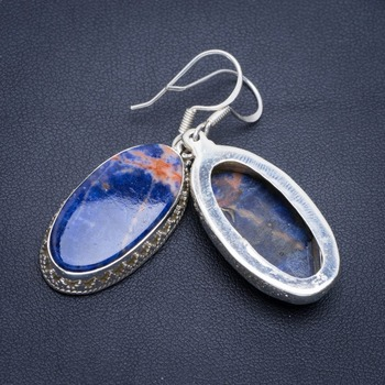 """Natural Orange Sodalite Handmade Unique 925 Sterling Silver Earrings 2"""" A2254"""