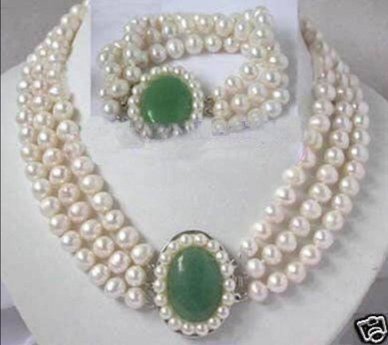Gratuite Charme blanc perle jade fermoir collier bracelet parures (A0423)