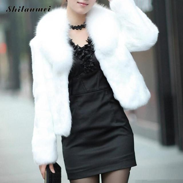 6b71e49bd3 Casaco de Pele falso Inverno Black White Faux Fur Colete Womenwarm  Pelliccia Ecologica Pelzweste Longs Manteaux