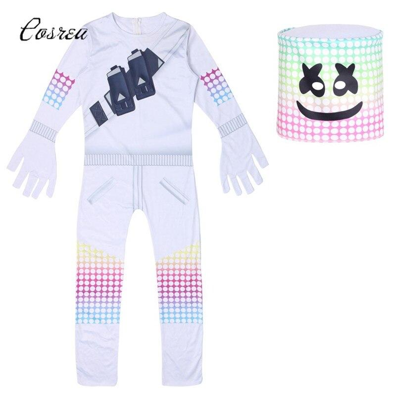 Marshmello Costume Dj Full Suit Costumes Onesie Kids Zipper Bodysuit One-piece Zentai Halloween Costume for Kids