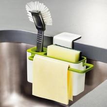 Useful Kitchen Storage Box Sponge Drain Holder Soap Shelf Organizer Rack Basket Wash Tools Kitchen Accessories Organizador