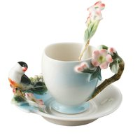 New design Beautifully 3D bird Coffee Mug with spoon dish,creative gift Colored enamel porcelain Mug with saucers and teaspoons