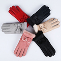 Cute Bow gloves for women Mittens sheepskin Solid Women Woolen Cashmere Winter Gloves sheep Fur Mittens Elegant Warm Women Glove