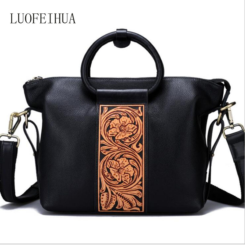 Women Genuine Leather bag 2019 new original handbag Pure handmade suede leather carving personality multi-purpose bagWomen Genuine Leather bag 2019 new original handbag Pure handmade suede leather carving personality multi-purpose bag