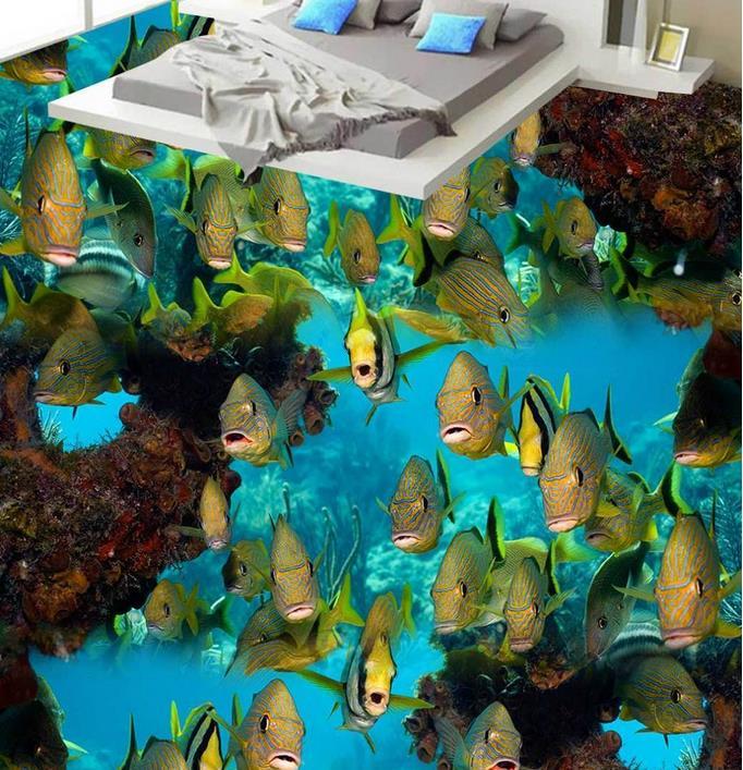 custom vinyl flooring bathroom mural Coral reef fish 3d pvc flooring waterproof murals wallpaper 3d flooring photo wall murals 3d flooring sea coral reef wallpaper for walls 3 d room mural bedroom wallpaper 3d vinil flooring decorative paintings