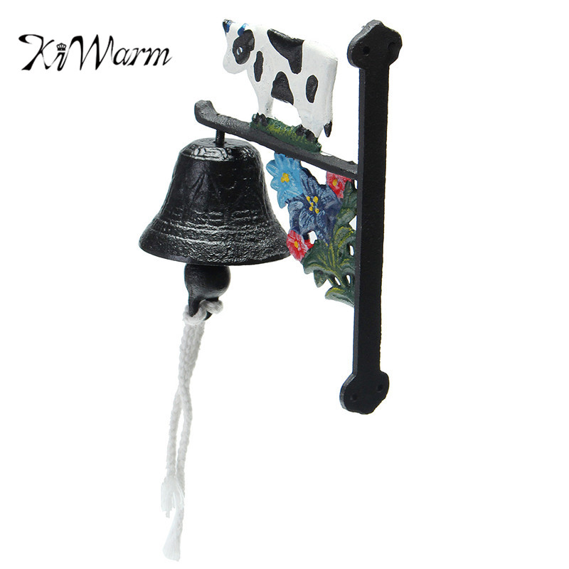 KiWarm New Vintage Style Rusted Cow Cast Iron Door Bell Wall Mounted Garden Decoration Ornament Craft
