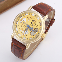GOER Casual New Fashion Retro Thin Case Mechanical Hand Wind Men Casual Leather Strap Wristwatches Classic