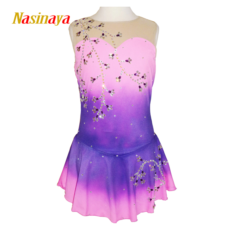 Customized Costume Ice Figure Skating Gymnastics Dress Competition Adult Child Girl Skirt Performance Sleeveless Pink Gradient pink black ice skating jackets for kids hot sale figure skating suits competition skating suits for children