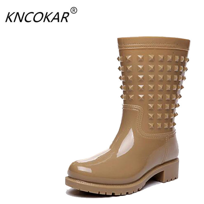 2018 Rain boots female rainboots rivet water shoes fashionable high rubber protective shoes sexy women's shoes and comfortable flowers purple elegant female boots gaotong water shoes rain shoes rubber shoes rubber rainboots