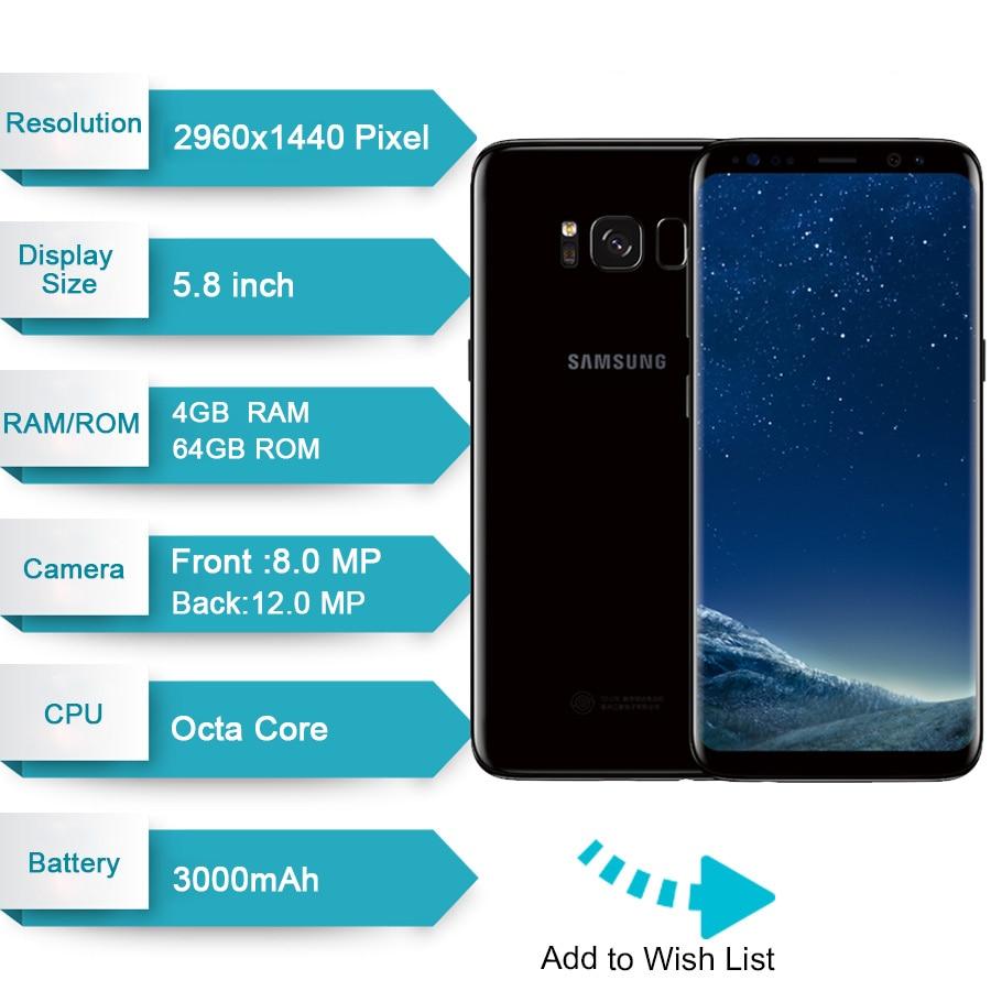 Originale per Samsung Galaxy S8 4 Gb di Ram 64 Gb Rom da 5.8 Pollici Singola Sim Android Octa Core 12MP 3000 Mah fingerprin S Serie Del Telefono Mobile - 2