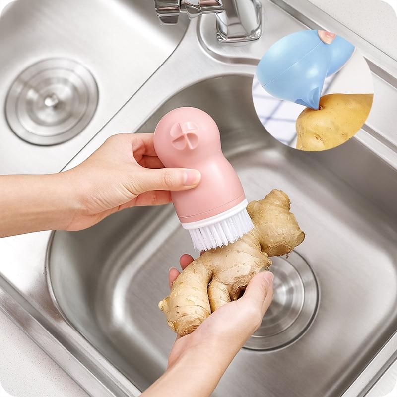 Vanzlife creative cute cartoon vegetable cleaning brush kitchen brush household washing fruits and vegetables brush