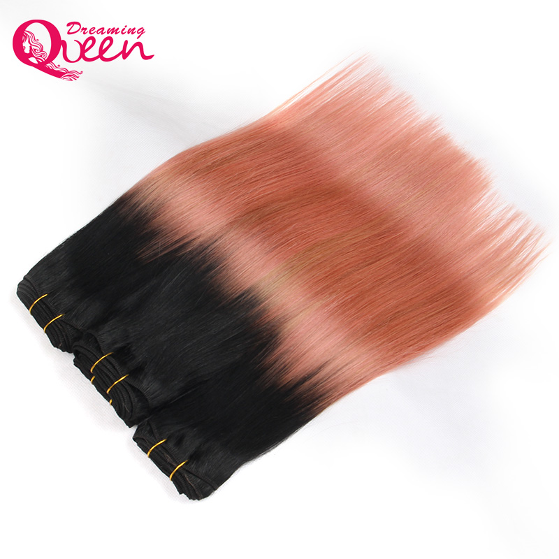 3 Bundles Rose Gold Color Brazil Straight Man Hair Pieces Pieces Remy - Rambut manusia (untuk hitam) - Foto 3
