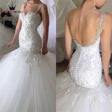 Купить с кэшбэком Custom Made Mermaid Backless Crystal Lace Beading Vintage Luxury Formal Sexy Wedding Dresses 2020 New Fashion Wedding Gown YB12M