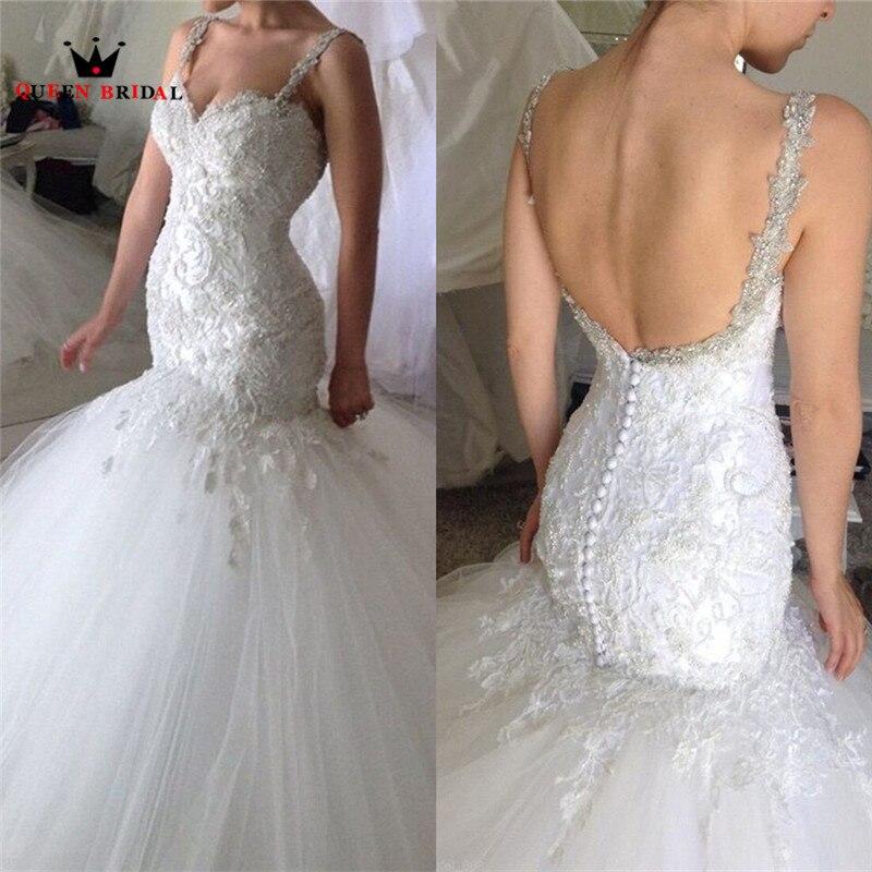 Su ordine Della Sirena Backless di Cristallo Del Merletto Che Borda Vintage di Lusso Convenzionale Sexy Abiti Da Sposa 2018 New Fashion Wedding Gown YB12M