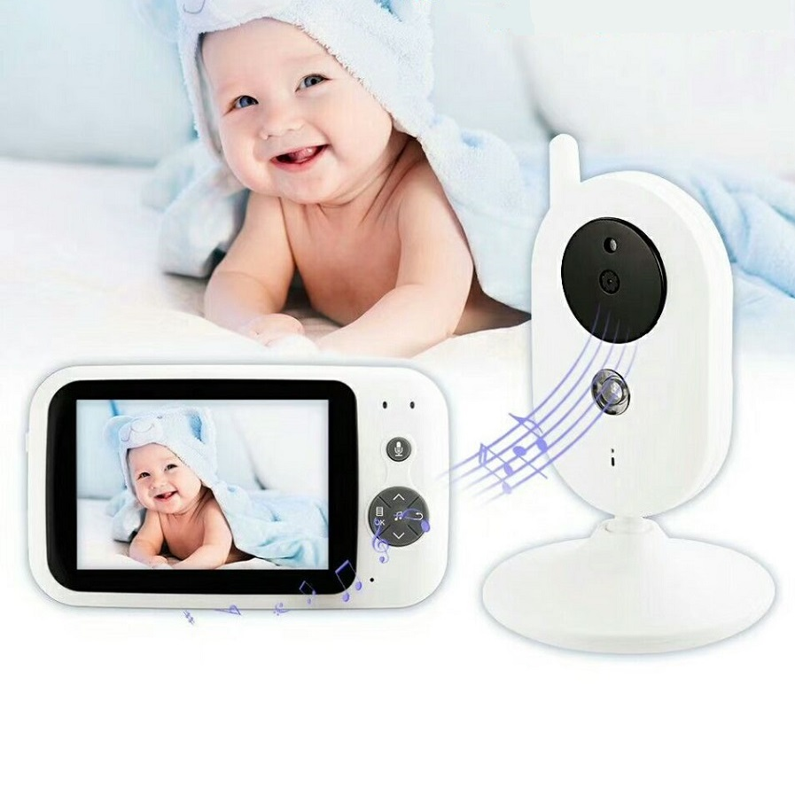 babykam video nanny wireless baby monitor 3.5 inch LCD IR Night Vision Baby Intercom 8 Lullabies Temperature monitor radio nanny wireless nanny video baby monitor camera lcd electronica night vision ir temperature smart audio monitor bebe