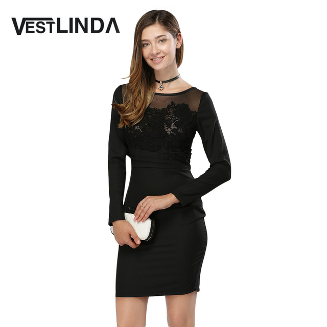 VESTLINDA Sexy Lace Party Dresses Women Fashion Floral Embroidery Bodycon  Dress Long Sleeve Autumn Vestido De 81e86e959be0