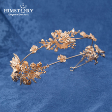 HIMSTORY Vintage Baroque Gold Wedding Hair Accessories Roses Flower & Leaf Crown And Bridal Tiaras Headband