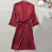 Sexy Lingerie Women Silk Lace Robe Dress Babydoll Nightdress Sleepwear Kimono Ruffles Party Robe Females Even