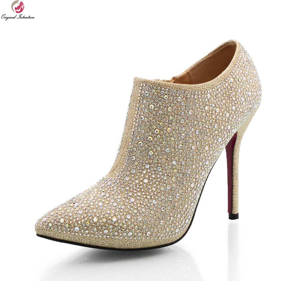 Original Intention Women Pumps Sexy Pointed Toe Gorgeous Rhinestone Thin Heel Shoes Woman Wedding High Heels Bridal Shoes sequined high heel stilettos wedding bridal pumps shoes womens pointed toe 12cm high heel slip on sequins wedding shoes pumps