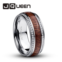 JQUEEN 316L Stainless Steel Ring For Men Acacia Wood Titanium Wedding jewelry Ring With Cubic zirconia Best Valentine's Day Gift