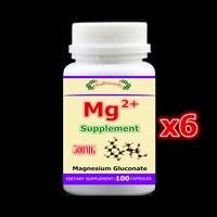 6 botella 600 piezas, Mg suplemento magnesio gluconato de hueso, los músculos y los nervios salud resistencia colesterol, envío libre