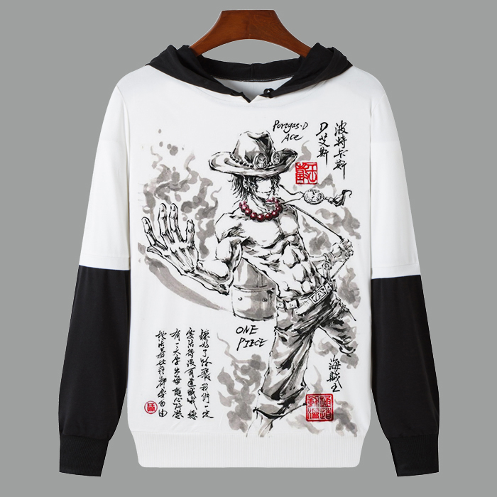 Spring Autumn White Hoodie Anime One Piece Monkey D. Luffy Roronoa Zoro Printed Casual Thin Sweatshirt Long Sleeve Hooded Coat