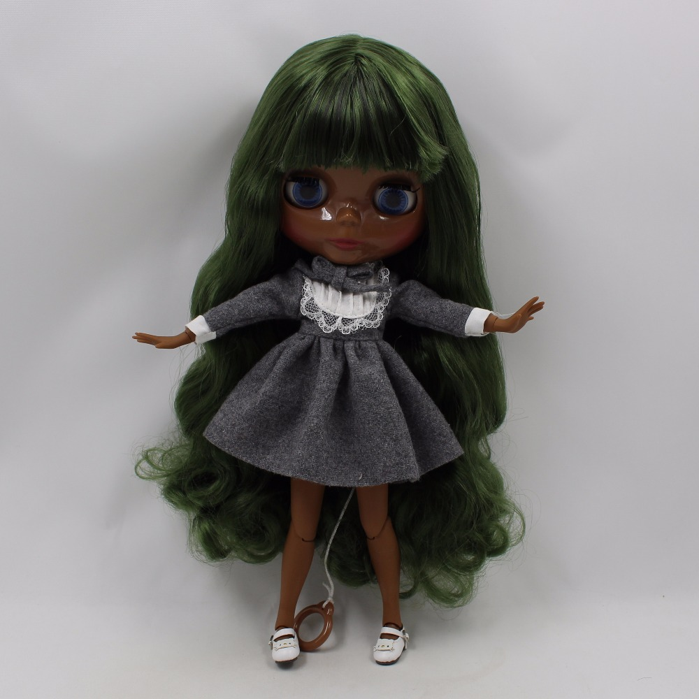 Neo Blythe Doll with Green Hair, Black skin, Shiny Face & Jointed Body 1