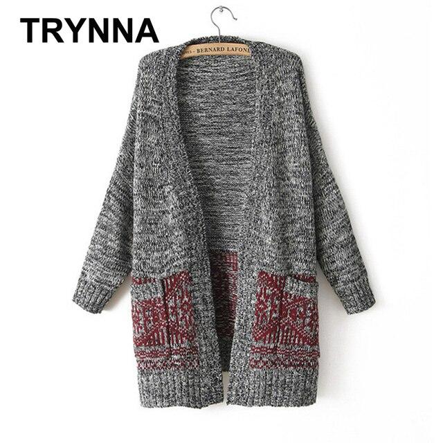 Mulheres casaco de lã Longo Estilo Manga Comprida Bolso Cinza Gradiente Rua  Ocasional Solto Outono Inverno b1899b0ada90f