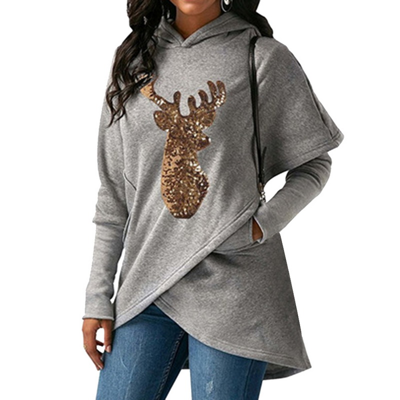8a81f7bb5df Dropwow Sweatshirts Female Hoodie Pink   Gray Plus Size Sweatshirt ...