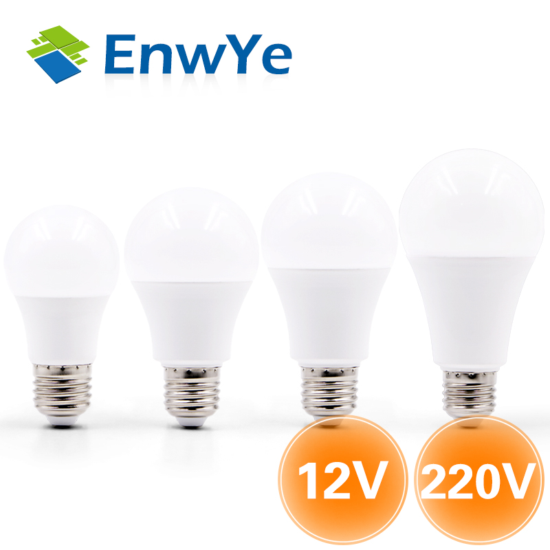 EnwYe LED Bulb Lamp E27 6W 9W 12W 15W DC12V / AC 220V Smart IC Real Power Cold White/Warm White Lampada Ampoule Bombilla LED