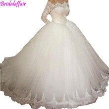 Vestido De Noiva Al Largo Della Spalla Maniche Lunghe abito di Sfera Abito Da Sposa 2018 Lace Vintage wedding dress