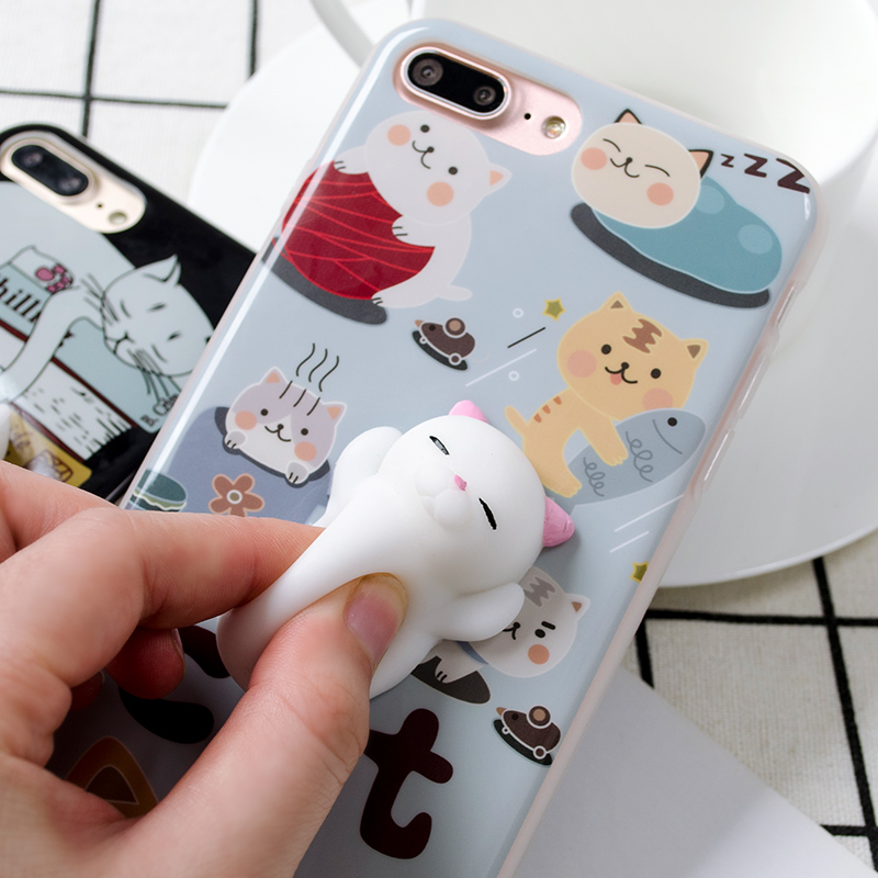 de230593f4 3D Cartoon Cute Soft Silicone Squishy Panda Squishy Cat Fundas Cover Case  for iPhone 6 6S 7 Plus Phone Cases Coque-in Fitted Cases from Cellphones ...