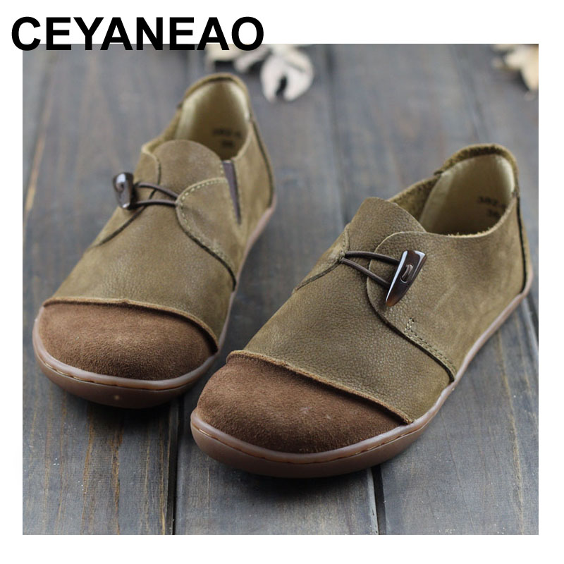 CEYANEAO Shoes Woman Genuine Leather Ladies Flat Shoes Round toe Slip on Ballerina Shoes Barefoot Sole Women Flats (382-5) woman shoes flat genuine leather slip on ballerina flats ladies flat shoes spring autumn female footwear 1688 3
