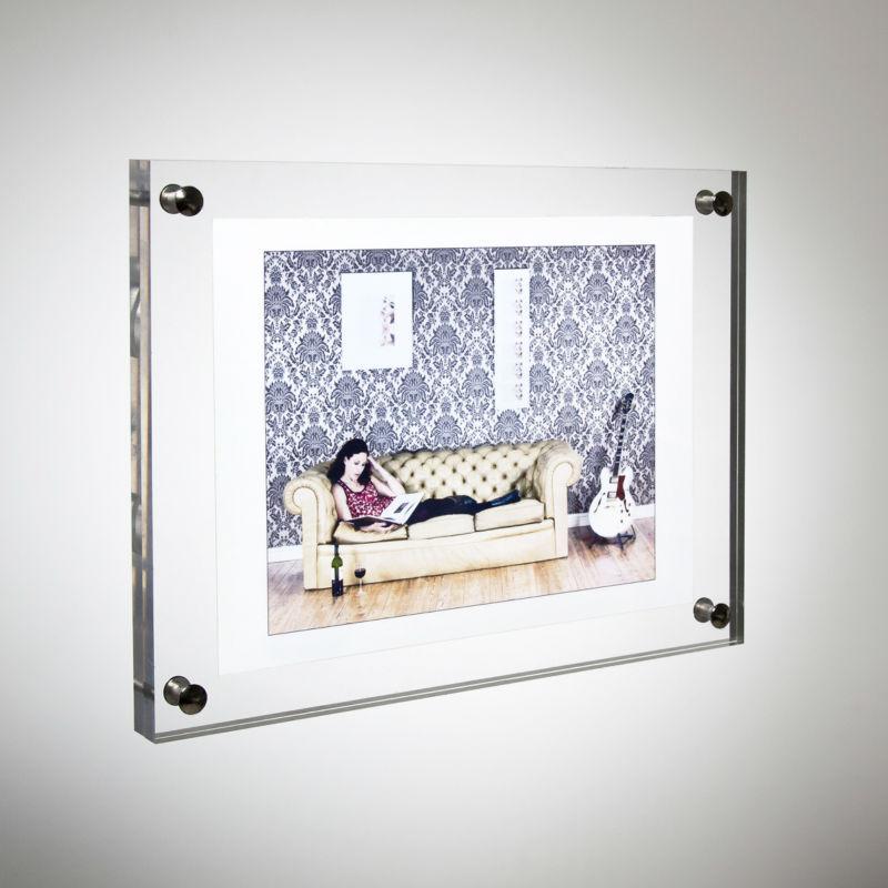 12 acrylic plexiglass photo frame wall mounted 339mm x 242mm transparent clear