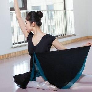 Image 2 - 새로운 성인 현대 무용 발레 복장 짧은 소매 Leotards ards 여자 체조 메쉬 춤 옷 발레 훈련 performanmanc