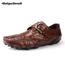 Size 38-44 Full Grain Leather Crocodile Pattern Mens Loafers Trendy Buckle Belt Octopus Outsole Leisure Man Casual Shoes