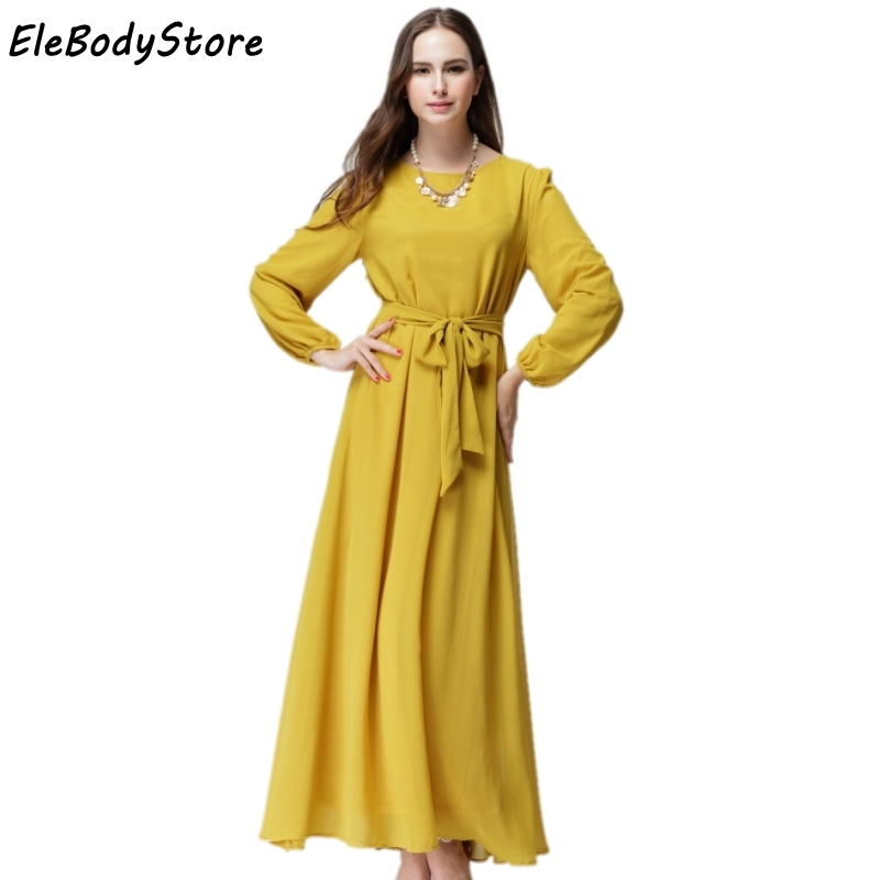 6bdf2d7097a ELEBODYSTORE Hot Summer Style Muslim Women Casual Loose Solid Dresses 2016  Woman Elegant Long Sleeve Chiffon Long Maxi Dress-in Dresses from Women s  ...