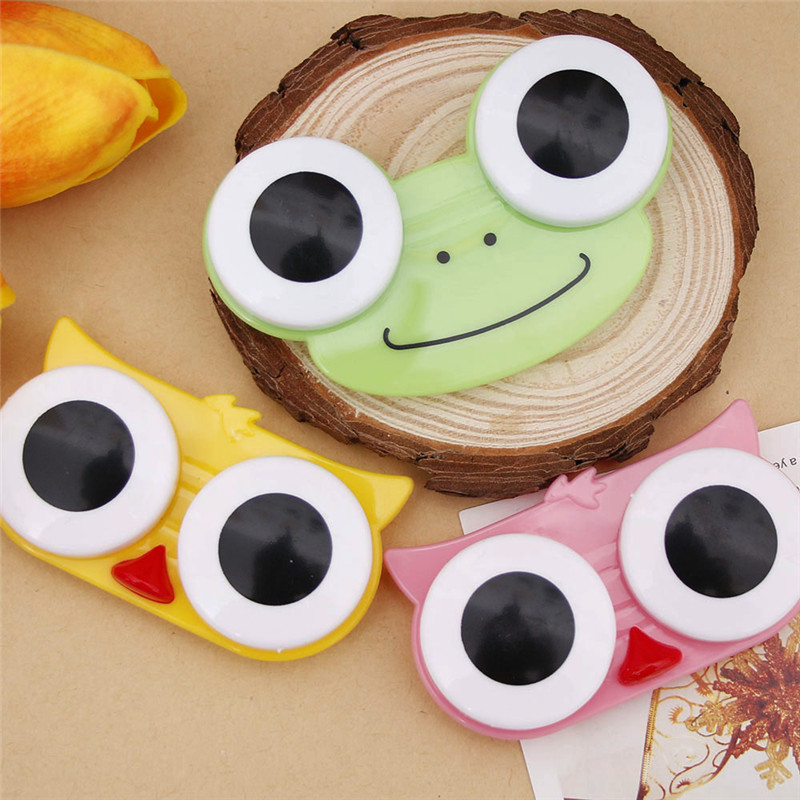 Men's Glasses 5pcs New Cute Sweet Cartoon Big Eyes Doll Shape Contact Lens Case Girl Special Partner Box Fashion With A Mirror Nursing Box