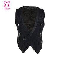 Corzzet Steampunk Corset Black Striped Chain Stand Collar Sleeveless Slim Fit Mens Suit Vest Male Waistcoat Gilet Homme Jacket